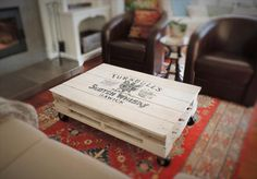 Pallet Shabby Chic White Coffee Table with Wheels   101 Pallets