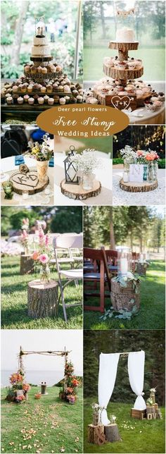 Rustic wood stump wedding ideas / http://www.deerpearlflowers.com/rustic-woodsy-wedding-decor-ideas/ #rusticwedding #countrywedding #weddingdecor