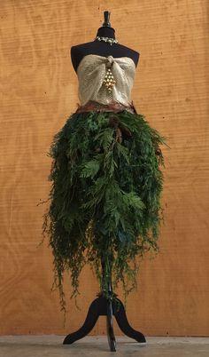 Dress Form Christmas Tree #3 - Peacock & Burlap Bodice with Cedar Branches