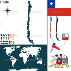 Map of Chile .This image is available on GraphicRiver. Vector map of Chile with regions, coat of arms and location on world map. Package contains: EPS (10 version), JPG (5000×5000 pixels, RGB).