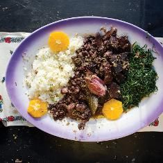 Portuguese Feijoada, With Accompaniments (Vinaigrette, Rice, Collard Greens) Recipe