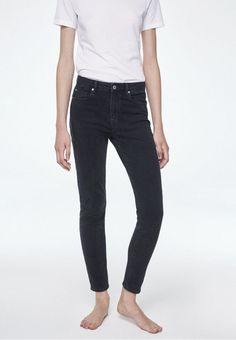 Armedangels Tilaa Mid Waist Skinny Fit Jeans Washed Down Black - Trouva Skinny Fit Jeans, Black Denim, T Shirts, Organic Cotton, Model, How To Wear, Pockets, Spring, Fashion