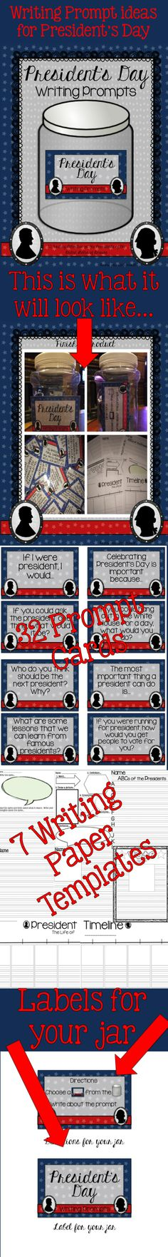 CAMPAIGN POSTERS - (MAKE A MODERN DAY POSTER FOR A PRESIDENT FROM HISTORY! ) CROSS CURRICULAR      President's Day Writing Prompts