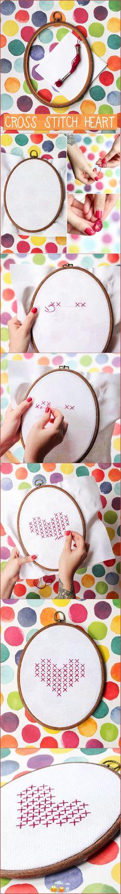 Cross stitch heart tutorial
