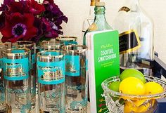 How to Host: Cocktails in the Tropics Bar Cart Essentials, House Color Schemes, Love Home, Trendy Home, Bar Drinks, At Home Gym, Bars For Home, Glass Jars, As You Like
