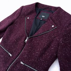 🆕 Purple speckle tweed moto biker blazer jacket Adorable purple tweed biker jacket moto jacket. Never worn! Size tag says small but it fits bigger, more like a small/medium (which is why I'm selling, too big for me). Zip closure and zip pockets on both side, as well as cute buttons on the collar. Brand new condition! Jackets & Coats Blazers