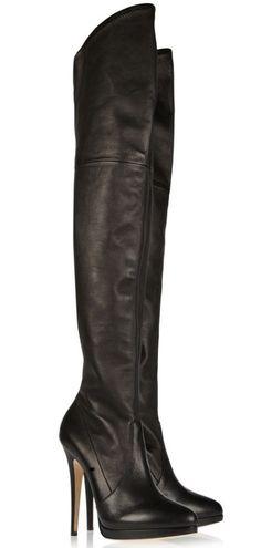 Casadei leather black high heel boot