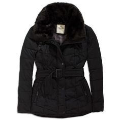 TIMEOUT Black Faux Fur Belted Puffer Jacket found on Polyvore featuring  polyvore afe384dcb