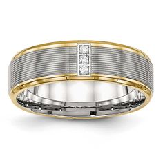 Chisel Polished Yellow IP CZ Grooved Comfort Back Ring - Sizes 6 - 13, Men's