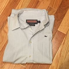 Vineyard Vines button down, light blue, Medium Very very Slight discoloration in armpits. May come out with a good scrub. Light blue check. Vineyard Vines Tops Button Down Shirts