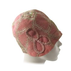 1920's pink embroidered cloche hat by Blossom Hats Paris New York