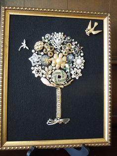 Jewelry Art Floral Art Tree with Dragonfly and Bird  Hand