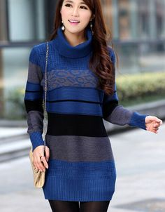 Slim Pullover Stripe Package Hip Bottoming Shirt Long Sweater Loose High Neck XT