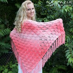 Here is a beautiful new free crochet pattern from Donna Wolfe of Naztazia. This is a triangular shawl, starting at the bottom in a lacy shell repeat that consists of two rows of an easily memorized stitch pattern.  This project, including the fringe, uses only two skeins of Red Heart Super Saver O