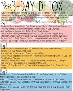 3-Day Detox Guide | Thin Living-- this doesnt look as bad as some that i have seen