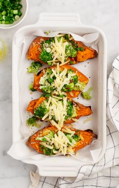 Twice Baked Sweet Potatoes with Broccoli Good for low carb, vegetarian, vegetables, meal prep, carb refeeding days. Healthy carbs.