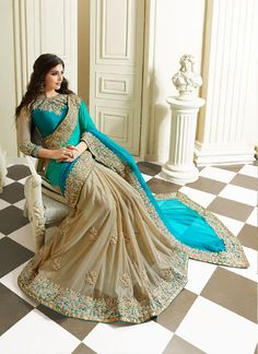 Royal Sea Green and Beige Coloured Embroidered Saree