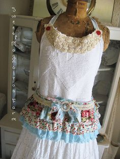 Vintage Chenille Apron  Ruffles and Rosettes ..Tool Bib Style Apron  by SweetMagnoliasFarm, $68.50