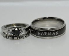 Batman and Batgirl Forever Rings Black Diamond CZ and White CZ Complete 3 - Batman Wedding - Ideas of Batman Wedding - Batman and Batgirl Forever Rings Black Diamond CZ and White CZ Complete 3 Piece Wedding set Batman & Batgirl Wedding DC Comics Heros Black Rings, White Gold Rings, Batman Wedding Rings, Batman Ring, Batman And Batgirl, Sapphire Wedding, Geeks, Wedding Set, Wedding Ideas
