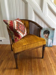 Accent Chair For Office - Upcycled Chair Upholstery - Painted Chair Upholstered - - Furniture, Caned Armchair, Chair Makeover, Purchase Furniture, Armchair Vintage, Comfy Chairs, Vintage Chairs, Crushed Velvet Fabric, Upholstered Chairs