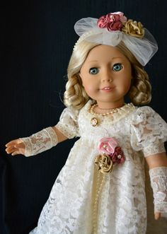 """""""Romance"""" Regency Jane Austen Dress Gown Outfit for 18"""" American Girl -Lumi -- SOLD"""
