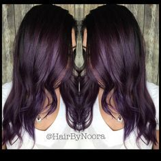 """Metallic Eggplant Added a flicker of @pravana #VividBlack to give this rich Violet that smokey yet deep color. #Smokeyviolethair"""