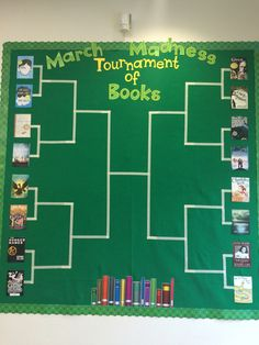 March Madness Tournament of Books sweet 16 library bulletin board – Education & Career Literacy Bulletin Boards, Interactive Bulletin Boards, Reading Bulletin Boards, March Bulletin Board Ideas, Preschool Bulletin, School Library Displays, Middle School Libraries, March Madness Tournament, Tournament Of Books