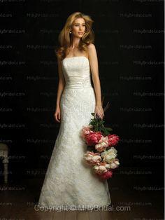 A-Line Strapless Handmade Flowers Taffeta Chapel Train Wedding Dress at Millybridal.com