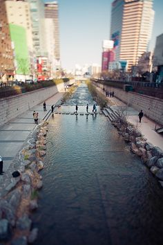 Cheong-gye-cheon: South Korea. A raised highway was demolished and the ground dug up to 'daylight' this long-buried stream. It transformed Seoul's centre, creating a riverside park and walking course that's a calm respite from the surrounding commercial hubbub.
