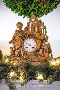 The Christmas Mantel | Edith & Evelyn Vintage | www.edithandevelynvintage.com French Christmas Decor, Christmas Mantels, Elegant Christmas, Gold Christmas, Christmas Time, Merry Christmas, Christmas Decorations, Xmas, Holiday Decor