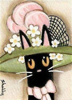 ACEO Original Art Card, Black Cat in a Hat #zibbet