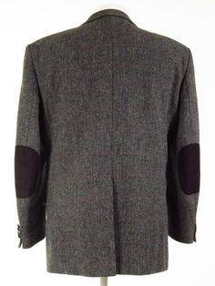 Tweed Jackets, Harris Tweed Jacket, Vintage Designer Clothing, Elbow Patches, Herringbone, Vintage Outfits, Men Sweater, Sweaters, Stuff To Buy