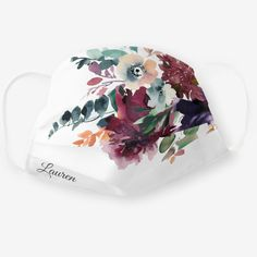 Burgundy Dark Floral Wedding Bouquet with Name Cloth Face Mask - tap/click to get yours right now! #ClothFaceMask #wedding #face #masks #watercolor #floral