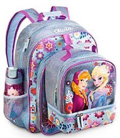 NEW DISNEY Store FROZEN ELSA Anna BACKPACK LUNCH BAG TOTE WATER BOTTLE SCHOOL #DisneyStore