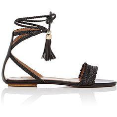 Aquazzura Women's Sun Valley Flat Sandals (3.983.280 IDR) ❤ liked on Polyvore featuring shoes, sandals, flats, flat sandals, sapatos, dark brown, dark brown flats, open toe flat shoes, flat pumps and aquazzura sandals