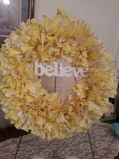 12 Yellow Believe Wreath by WreathClothsbyDee on Etsy, $22.00