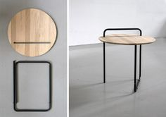 CLIP TABLE BY JAN KOCHANSKI  The top and bottom come apart and the top can be used separately as a tray. When not being used it makes a piece of modern art when hung on the wall. Portable, collapsible, multi-purpose. Sleek and simple.
