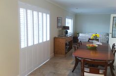 Solid shutters have been used in the UK for more than 200 years. They provide a more traditional finish to dressing your interior wooden windows. Shutter Images, Kitchen Shutters, White Shutters, Wooden Windows, New Homes, Dining Room, Doors, London, Traditional