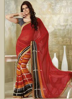 Multicolored N Red Georgette Half N Half Saree