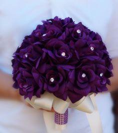 Purple Silk roses Wedding Bridal Bouquet,Crystal Gem,Black Ribbon