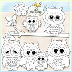 Cute Owls 1 - NE Kristi W. Designs Digi Stamps : Digi Web Studio, Clip Art, Printable Crafts & Digital Scrapbooking!