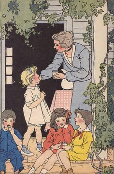 """Jimmy Dales grandparents welcome the class to their farm to see all the spring time animals. By illustrator Marguerite Davis. """"The Children's Own Readers - Book One"""" by Mary E. Penell and Alice M. Cusack, 1929, illustrated by Marguerite Davis. Again starring Jimmy Dale and Beverly."""