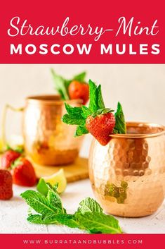 Strawberry-Mint Moscow Mule - Burrata and Bubbles Classic Vodka Cocktails, Easy Cocktails, Cocktail Recipes, Strawberry Cocktails, Mule Recipe, Roasted Strawberries, Best Shakes, Dinner Party Recipes, Drinks Alcohol Recipes