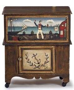 Great Ralph Cahoon Furniture with scene of a sailor with his grog.
