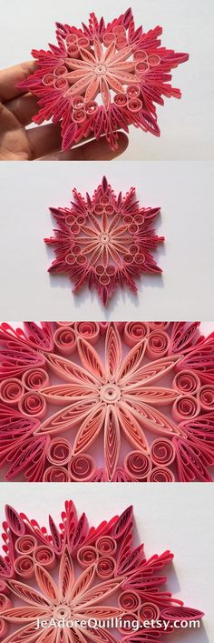 Snowflake Pink Christmas Tree Decoration Winter Ornaments Gifts Toppers Fillers Office Corporate Paper Quilling Quilled Art