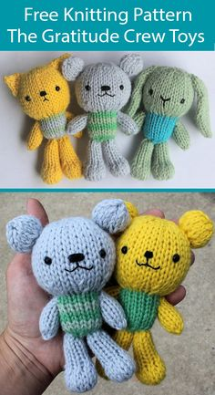 Free Knitting Pattern for The Gratitude Crew Toys Bear, Bunny, Cat - Owl Knitting Pattern, Crochet Teddy Bear Pattern, Crochet Bunny, Crochet Patterns Amigurumi, Free Knitting, Baby Knitting, Aran Weight Yarn, Knitted Dolls, Crochet Dolls