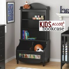 This black bookcase is perfect in a nursery or an older child's bedroom with its 3 shelves, 2 open storage compartments, solid wood feet, decorative profile, scalloped moldings and dark russet cherry finish to add a beautiful accent to your space.