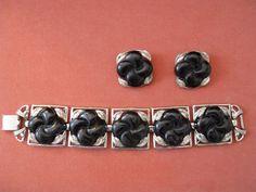 Vintage Coro Jewelry Link Bracelet Set Silver Tone With Earrings Celluloid