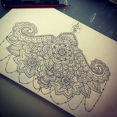 Sternum underboob tattoo, like henna or mehndi, pretty and girly. Tattoo design by Timothy Von Senden