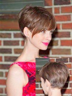 Anne Hathaway pixie long fringe